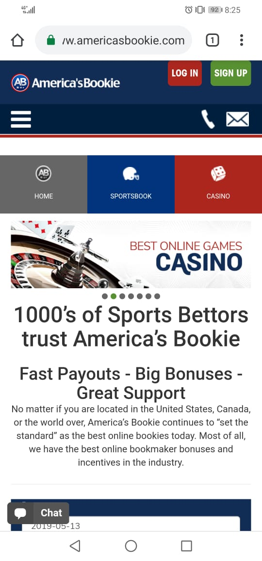 Screenshot of AmericasBookie home page