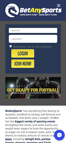 Screenshot of BetAnySports home page